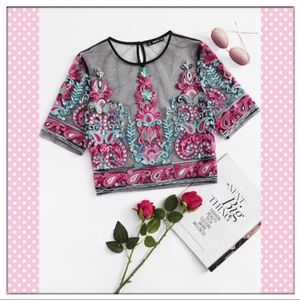 Tops - Embroidered Mesh Crop Top